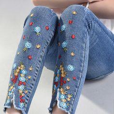 Plus Size Embroidered Pencil Jeans 4Xl plus Size Denim Pants Stretch Pants  EUR 16.46  Meer informatie  http://ift.tt/2vnCxwc #aliexpress