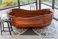 """Lotus"" -- Sapele Mahogany and Walnut Bathtub"