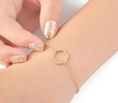 Sechseck-Armband Gold-Armband 18k gold von ShopOrigamiJewels