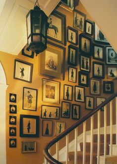 A collection of eighteenth- & nineteenth-century silhouettes, which are displayed in a house in Sussex from Interiors by Minn Hogg & Wendy Harrop.