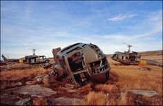 Falklands War, Argentinian Hueys on Stanley racecourse by Hector Patrick, via Flickr