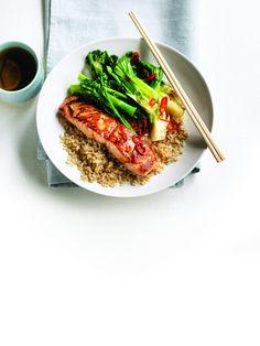 Teriyaki salmon with stir-fried greens and brown rice