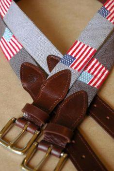 American Flag Needlepoint Belts