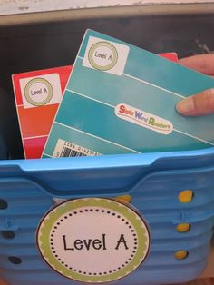 Erica Bohrer's Classroom-cute book labels that match the cute basket label!