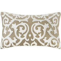 Add an elegant finishing touch to your window seat or guest bed with this lovely pillow, showcasing an embroidered scrollwork design and a taupe hue.