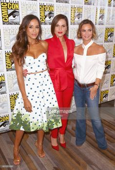 Actors Dania Ramirez, Lana Parrilla and Gabrielle Anwar at the 'Once Upon A Time' Press Line during Comic-Con International 2017 at Hilton Bayfront on July 22, 2017 in San Diego, California.