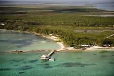Beautiful aerial shot of Small Hope Bay Lodge, Andros, Bahamas!