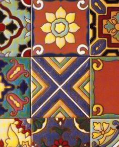 sampler of reproduction 1920-1930s California tile by Malibu Ceramic