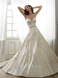 Sophia Tolli is a designer wedding dress line that features incredibly romantic wedding dresses from charming A-line silhouettes to classic high necklines. Sophia Tolli wedding dresses will make your wedding day feel even more magical. Wedding Dress Winter, Bridal Wedding Dresses, Princess Wedding Dresses, Designer Wedding Dresses, Princess Bridal, Winter Weddings, Spring Wedding, Wedding Bouquets, Bridesmaid Dresses