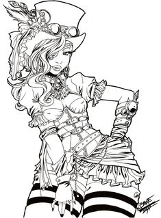 steampunk girl coloring pages - photo#37