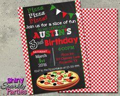 Pizza Party Birthday Invitation - Pizzeria Party Invite Pizza Party Ideas