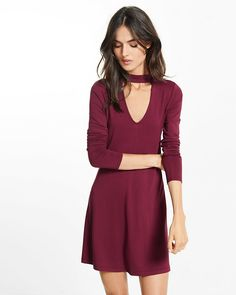 cut-out trapeze choker dress