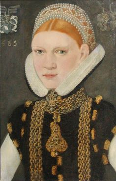 Sophie Eriksdatter Rud  painted by unknown artist 1585. Museum of National History at Fredriksborgs Castle.