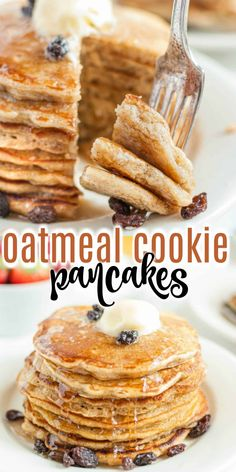 It& cookies for breakfast! These fluffy Oatmeal Cookie Pancakes have all the great taste of oatmeal raisin cookies in a flapjack! Delicious Breakfast Recipes, Best Dessert Recipes, Fun Desserts, Yummy Food, Sweets Recipes, Brunch Recipes, Tasty, Freeze Pancakes, Pancakes And Waffles