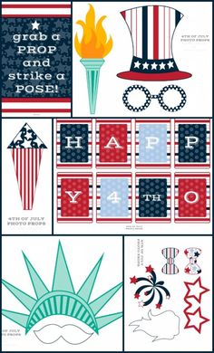 of July Photo Booth Props. Free printable fourth of july photo booth idea. 4th Of July Photos, Fourth Of July Food, 4th Of July Celebration, 4th Of July Party, July 4th, Patriotic Crafts, Patriotic Party, July Crafts, Holiday Crafts