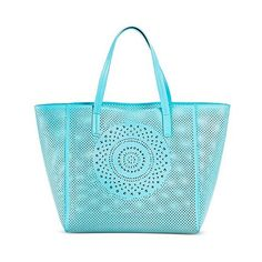 Women's Perforated Medallion Tote Faux Leather Handbag Aqua ($40) ❤ liked on Polyvore featuring bags, handbags, tote bags, soft aqua, vegan tote, beach tote, handbags totes, faux leather tote bag and faux leather tote