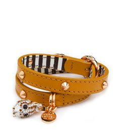 Henri Charms Double Wrap Bracelet in Brown Leather | Henri Bendel