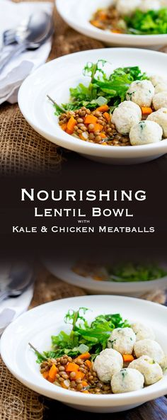 This Lentil Bowl with kale and chicken meatballs is the perfect mix of comfort food and healthy lunch. Hearty and warming without being heavy or stodgy but light enough for a warm day. It really is the dish for all seasons! From Sprinkles and Sprouts