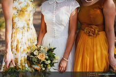 Mismatched mustard bridesmaids vintage dresses