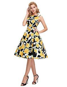 Amazon.com: Women's Floral Print Vintage Swing Dresses Empire Waist Size XL BP02-11: Clothing