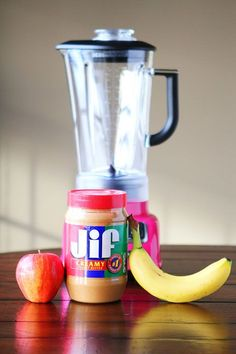 My favorites all in Peanut Butter Banana Apple Smoothie. Banana and apple help avoid acid reflux. I add either almond milk or greek yogurt, and half scoop of chocolate or vanilla protein powder. Good Smoothies, Juice Smoothie, Smoothie Drinks, Smoothie Recipes, Fruit Smoothies, Juice Diet, Yummy Drinks, Healthy Drinks, Healthy Snacks