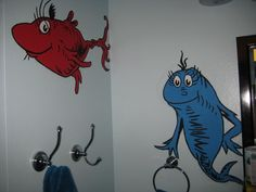 Dr seuss bathroom decor with painted mural