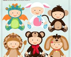 Items similar to Baby In Costume Cute Digital Clipart for Card Design, Scrapbooking, and Web Design on Etsy Baby Bee Costume, Baby Dragon Costume, Puppy Costume, Bear Costume, Lamb Costume, Monkey Costumes, Cute Costumes, Baby Halloween Costumes, Baby Costumes