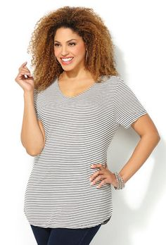 Comfy Striped Tee-Plus Size Tee-Avenue Plus Size Tees, Celebrity Beauty, S Shirt, Striped Tee, Plus Size Outfits, Plus Size Women, Comfy, Black And White, Celebrities