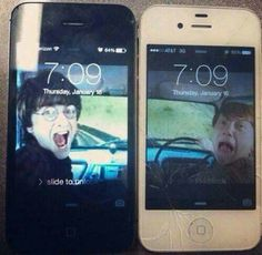 Brilliant lock screen of Ron and Harry Potter