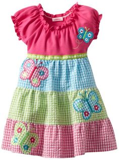 Youngland Girls Knit To Woven Multi Color Sundress