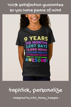 Shop Birthday Shirt Boy Girl Nine Years of Awesome created by Wild_Honey_Designs. 9 Year Old Girl Birthday, Birthday Cale, Birthday Party Games For Kids, Birthday Cards For Boys, Birthday Cake Girls, Birthday Shirts, Birthday Ideas, Backyard Birthday Parties, Surprise Ideas