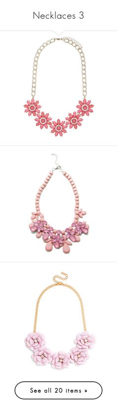 """Necklaces 3"" by rosky ❤ liked on Polyvore featuring jewelry, necklaces, coral, clear jewelry, clear necklace, diamante jewellery, adjustable necklace, flower jewellery, jewels and accessories"