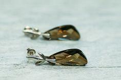 Post Stud Earrings Crystal Bronze Swarovski Earrigns by DevikaBox, $39.00