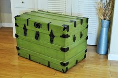 Antique Trunk Refinished in Spring Apple Green & Calico Lining Home Decor