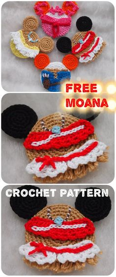 Today I will add the new princess to our collection. We already have Snow White, Elsa and Rapunzel.) And today I want to share with you my Moana Mouse crochet pattern. Crochet Crafts, Crochet Projects, Free Crochet, Knit Crochet, Crochet Mouse, Crochet Ornaments, Crochet Ideas, Disney Crochet Patterns, Crochet Disney