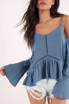 """Search """"Amanda Blue Ladder Trim Top"""" on Tobi.com! cami off shoulder cold blue blouse flowy ruffle hem bell fluted flare sleeves long cami tank cute #ShopTobi #fashion #summer #spring #vacation Basic outfit simple easy chic fashionable stylish style fashion vacation travel essential capsule wardrobe must have casual comfy comfortable trendy spring summer shop buy cheap inexpensive ideas for women teens cute edgy closet fall college outfit outfits"""