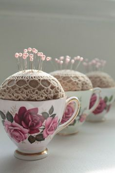 Vintage Sewing Teacup Pincushion - You will love this Teapot Pincushion Pattern Free Tutorial. Learn how to turn your Teapot or your Teacup into a pincushion and sewing caddy. Doilies Crafts, Fabric Crafts, Sewing Crafts, Sewing Projects, Craft Projects, Craft Ideas, Burlap Crafts, Vintage Crafts, Vintage Sewing
