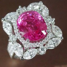 Romantic and feminine: Natural 6.15ct Pink Sapphire with Diamond Ring from #PrimaGems