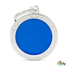 Show details for Big Circle Blue Engraved Pet Tag Free engraving www.myfamily.it  The main breeds of cats and dogs, reproduced in a range that is one of its kind worldwide.Each tag is hand enamelled and made from non-allergenic materials. Made in Italy This product can be customized with 3 lines on the back.  Tell us how to customize your product (eg. Name line 1, line 2 telephone number)