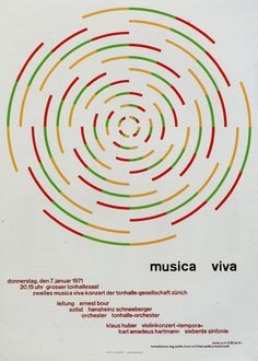 Poster by the swiss graphic designer Josef Muller Brockmann. Musica Viva January 7, 1971. Swiss style #brockmann #graphicdesign