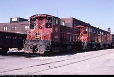 TRRA 1503   Description:  TRRA 1503 pulls a transfer.   Photo Date:  3/23/1986  Location:  St. Louis, MO   Author:  J Fischer  Categories:  Roster,Action  Locomotives:  TRRA 1503(SW1500) TRRA 1504(SW1500)