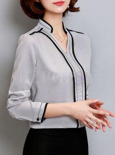 Work V-Neck Patch Slim Hit Color Blouse - Work Outfits Women Office Outfits Women, Office Fashion Women, Work Fashion, Street Fashion, Fashion Top, Petite Fashion, Curvy Fashion, Fall Fashion, Fashion Trends