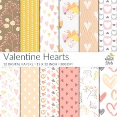 Valentine Hearts Digital Papers - scrapbooking paper - instant download - commercial use - royalty free by TheDigitalFinch on Etsy