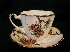 Jon Roth Pine Cone Pattern Made in England Salisbury Fine Bone China Tea Cup ...  the pine cones on china must have been popular, my Mom and Mother in Law both had a few pieces