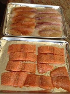 Meal prep for the week:  salmon and tilapia, ready to go in the oven under the broiler 500 degrees for 5 minutes.
