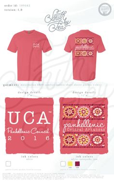 University of Central Arkansas | Panhellenic Council | Panhellenic T-Shirt Design |  South by Sea | Greek Tee Shirts | Greek Tank Tops | Custom Apparel Design | Custom Greek Apparel | Sorority Tee Shirts | Sorority Tanks | Sorority Shirt Designs