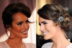 Louise Roe is Oscar-perfect with a high-rise side-swept up-do, glowing, bronzed skin and heavy, smoky eyes.     Louise Roe wore her hair in a whimsical style full of volume and perfected the look with a delicate floral clip. Her tresses were collected into a side ponytail and wound to create a loose bun. The ends were left to curl out, which created an artfully placed mass of curls.