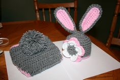 Newborn Bunny Hat and Diaper Cover Photography Prop I made