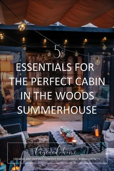 5-ESSENTIALS-perfect-cabin-in-woods-summerhouse Dark Green Living Room, Green Lounge, Festoon Lights, Tongue And Groove Ceiling, Floor Insulation, Building A Cabin, Interior Styling, Interior Design, Getaway Cabins