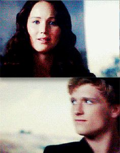 Although in the movie Katniss doesn't actually tell Peeta it was all for the games - when they arrived back at district twelve and Katniss saw Gale and her family, Peeta takes one look at her and the emotion on his face is so powerful, he looks disappointed, like he's had the realization that is was all just for the games. (click on the picture)